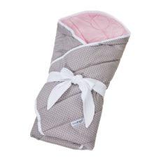 LITTLE ANGEL Zavinovačka multifunkční prošiv Outlast® 78x78cm šedá tečka/růžová baby